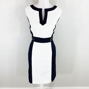 Tahari navy white color block sheath dress 10